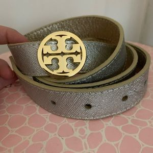 """Reversible 1"""" Gold and Silver Tory Burch Belt"""